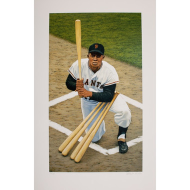 Willie Mays Arthur Miller Signed Fine Art 23  x 15 Litho Ltd Ed of 150