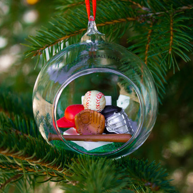 Baseball Hall of Fame Glass Globe Equipment Ornament