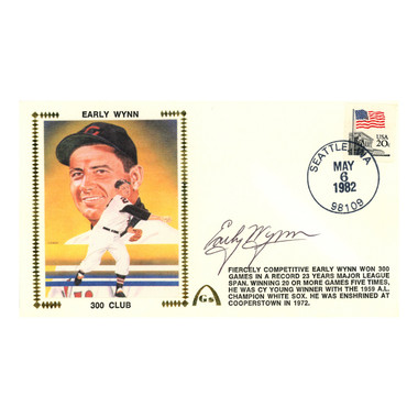 Early Wynn Autographed First Day Cover - 1982 300 Wins (Beckett)