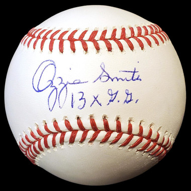 Ozzie Smith Autographed Rawlings OML Baseball with 13x GG Inscription (MLB/Fanatics)
