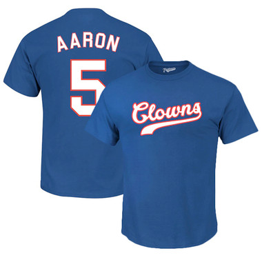 Men's Teambrown Hank Aaron Indianapolis Clowns Royal Name & Number T-Shirt