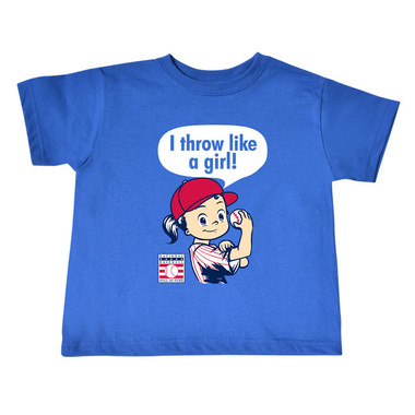 Toddler Baseball Hall of Fame I Throw Like A Girl Royal T-Shirt