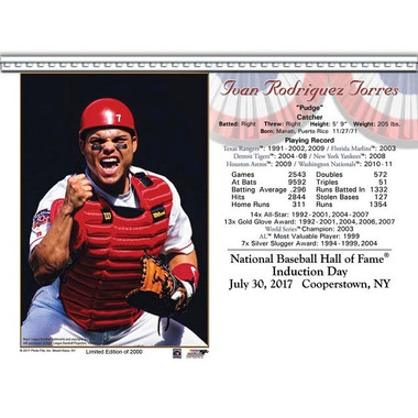 Ivan Rodriguez 2017 Hall of Fame Induction 8x10 Photocard