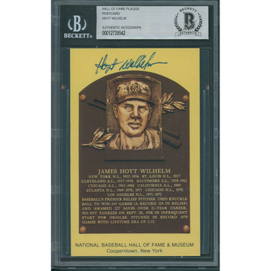 Hoyt Wilhelm Autographed Hall of Fame Plaque Postcard (Beckett-42)