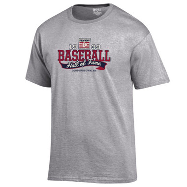 Men's Baseball Hall of Fame Oxford Gray 1939 Banner T-Shirt