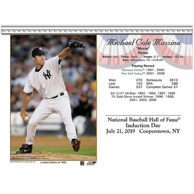 Mike Mussina New York Yankees 2019 Hall of Fame Induction 8x10 Photocard