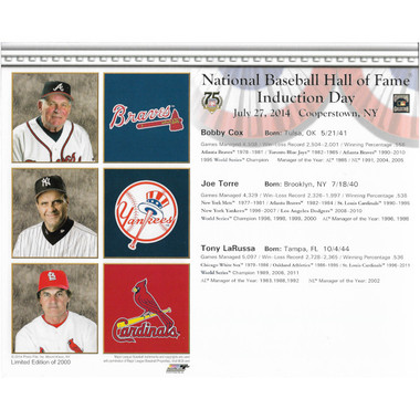 Bobby Cox - Tony La Russa - Joe Torre  2014 Hall of Fame Induction 8x10 Photocard