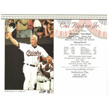 Cal Ripken Jr. Baltimore Orioles 2007 Hall of Fame Induction 8x10 Photocard - Waving