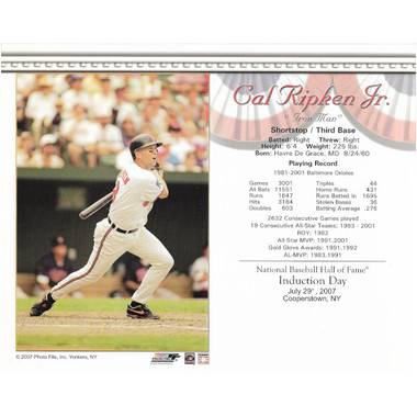 Cal Ripken Jr. Baltimore Orioles 2007 Hall of Fame Induction 8x10 Photocard - Batting