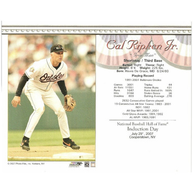 Cal Ripken Jr. Baltimore Orioles 2007 Hall of Fame Induction 8x10 Photocard - Fielding