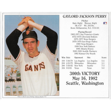 Gaylord Perry San Francisco Giants 300th Win 8x10 Photocard
