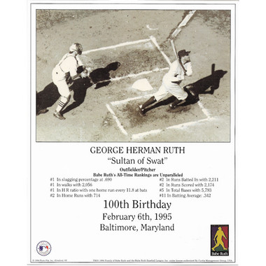 Babe Ruth New York Yankees 100th Birthday 8x10 Photocard