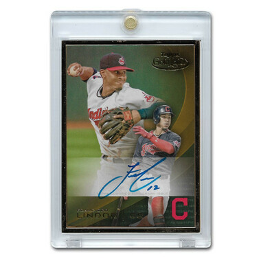 Francisco Lindor Autographed Card 2016 Topps Gold Label Framed