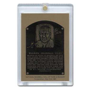 Warren Giles 1983 Hall of Fame Metallic Plaque Card