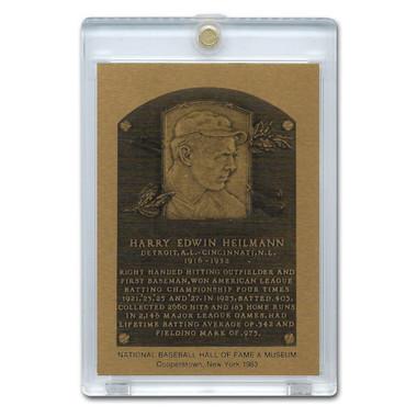 Harry Heilmann 1983 Hall of Fame Metallic Plaque Card