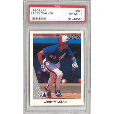 Larry Walker Montreal Expos 1990 Leaf # 325 Rookie Card PSA 8