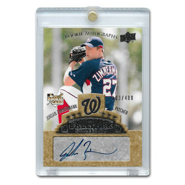 Jordan Zimmerman Autographed Card 2009 Upper Deck Ballpark # 86 Ltd Ed of 400