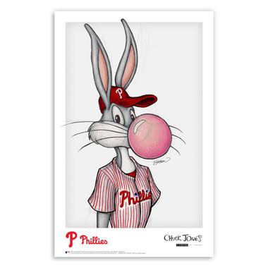 Philadelphia Phillies Bubblegum Bugs Minimalist Looney Tunes Collection 11 x 17 Fine Art Print by artist S. Preston