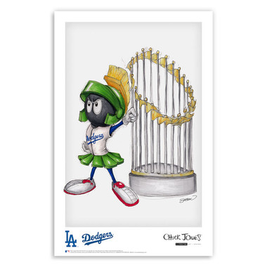 Los Angeles Dodgers World Series Champs Marvin the Martian Minimalist Looney Tunes Collection 11 x 17 Fine Art Print by artist S. Preston