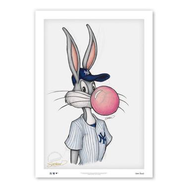 New York Yankees Bubblegum Bugs Minimalist Looney Tunes Collection 14 x 20 Fine Art Print by artist S. Preston - Ltd Ed of 100