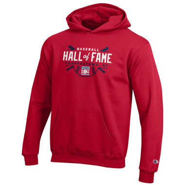 Youth Champion Baseball Hall of Fame Crossed Bats Powerblend Red Pullover Hood
