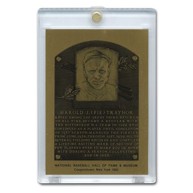 Pie Traynor 1982 Hall of Fame Metallic Plaque Card