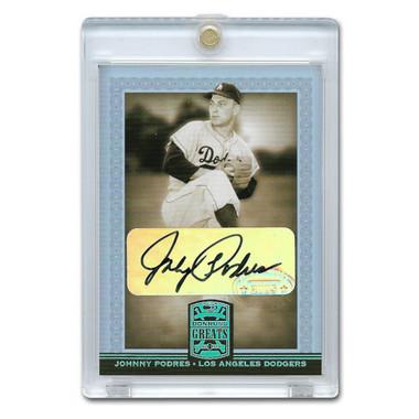 Johnny Podres Autographed Card 2005 Donruss Greats Gold Holofoil Signatures