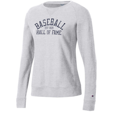 Women's Champion Baseball Hall of Fame Silver Grey Reverse Weave Sweatshirt