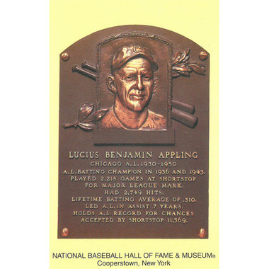 Luke Appling Baseball Hall of Fame Plaque Postcard