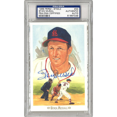 Stan Musial Autographed Perez-Steele Celebration Series Postcard # 33 (PSA-39)