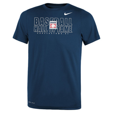 Youth Nike Baseball Hall of Fame Official Logo Navy Dri-Fit Legend 2.0 T-Shirt