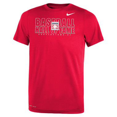 Youth Nike Baseball Hall of Fame Official Logo Red Dri-Fit Legend 2.0 T-Shirt