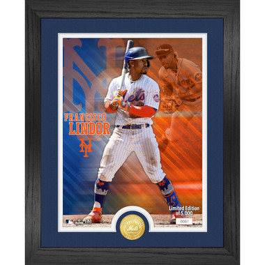 Highland Mint Francisco Lindor New York Mets Bronze Coin 13 x 16 Photo Mint