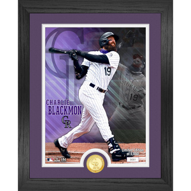 Highland Mint Charlie Blackmon Colorado Rockies Bronze Coin 13 x 16 Photo Mint
