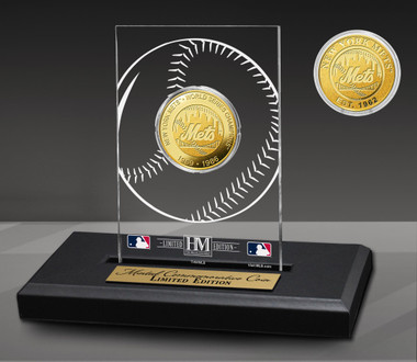 New York Mets 2-Time Champions Acrylic Gold Coin