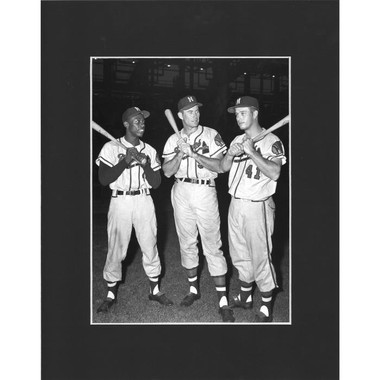 Matted 8x10 Photo- Hank Aaron, Joe Adcock and Eddie Mathews