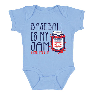 Infant/Toddler Baseball Is My Jam Hall of Fame Logo Light Blue Onesie