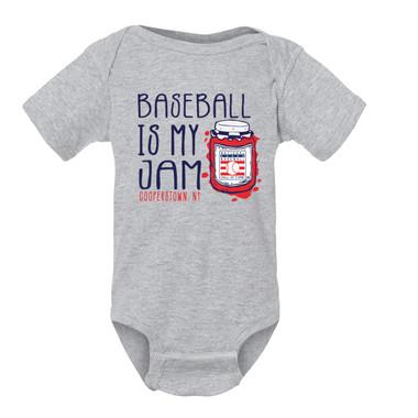 Infant/Toddler Baseball Is My Jam Hall of Fame Logo Ash Grey Onesie