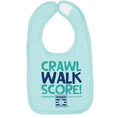 Infant Baseball Hall of Fame Crawl, Walk, Score Light Blue Bib