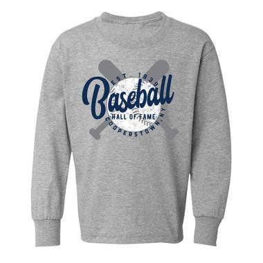 Toddler Baseball Hall of Fame Crossed Bats Long Sleeve Heather Grey T-Shirt
