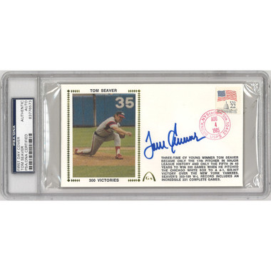 Tom Seaver Autographed First Day Cover - 1985 300th Win (PSA-73)