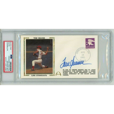 Tom Seaver Autographed First Day Cover - 1981 3,000th Strike Out (PSA)