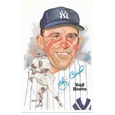 Yogi Berra Autographed Perez-Steele HOF Series Postcard #127 (JSA-99)