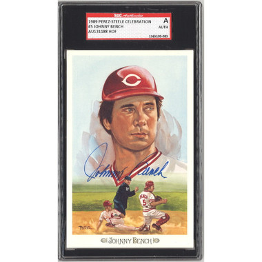 Johnny Bench Autographed Perez-Steele Celebration Series Postcard # 5 (SGC-83)