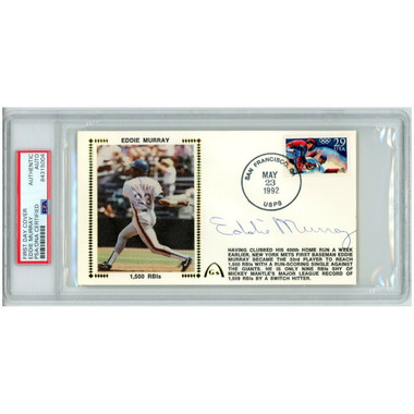 Eddie Murray Autographed First Day Cover - 1992 1500th RIB (PSA)