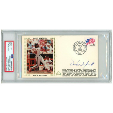 Dave Winfield Autographed First Day Cover - 1991 400th Home Run (PSA)
