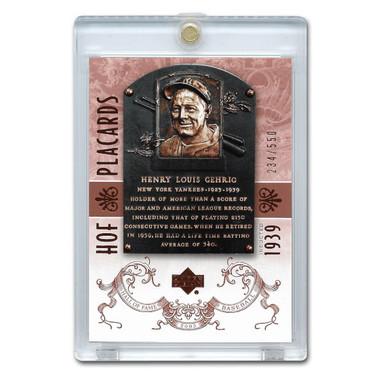 Lou Gehrig 2005 Upper Deck Hall of Fame Placards # 91 Ltd Ed of 550