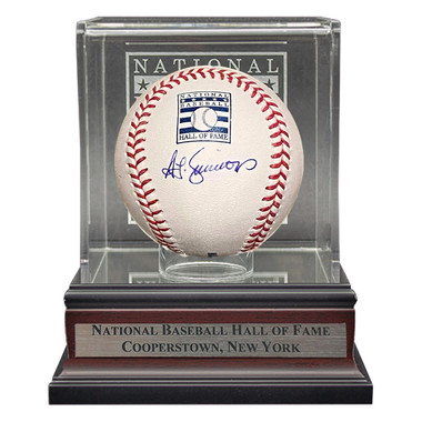 Ted Simmons Autographed Hall of Fame Logo Baseball with HOF Case (MLB)