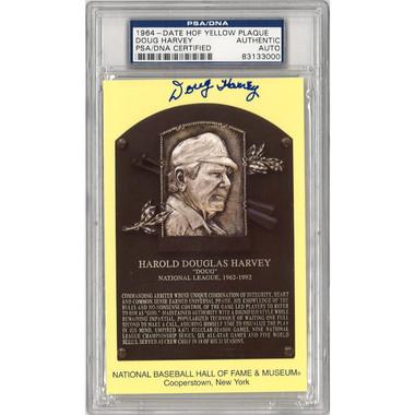 Doug Harvey Autographed Hall of Fame Plaque Postcard (PSA-00)