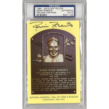 Robin Roberts Autographed Hall of Fame Plaque Postcard (PSA-32)